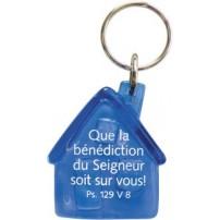 Porte-clés maison bleu Que la bénédiction...