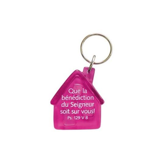 Porte-clés maison rose Que la bénédiction...