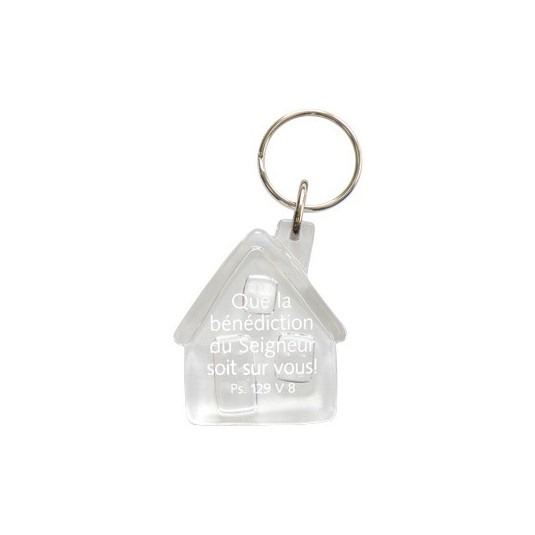 Porte-clés maison transparent Que la bénédiction...
