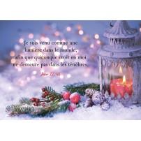 CARTE FA : Lanterne et décorations de Noël sur fond mauve