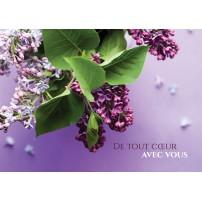 CARTE FLASH : Bouquet de fleurs violettes(De tout coeur...)