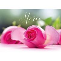 CARTE FLASH : Bouquet de rose posé sur une table (Merci)