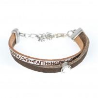 Bracelet en cuir de haute qualité « foi » avec brillant