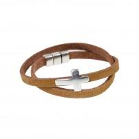 Bracelet cuir brun de haute qualité,croix  métal de couleur argentée.