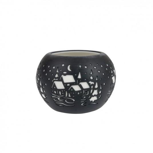 Bougeoir lanterne paysage hivernal noire en porcelaine