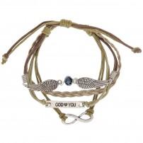 Bracelet cuir beige,ailes en métal, pierre facettée,gourmette « GOD ? YOU