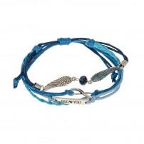 Bracelet cuir bleu, ailes en métal, pierre facettée, gourmette « GOD ? YOU