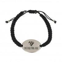 Bracelet tressé noir, médaillon métal « Précieux pour Dieu »