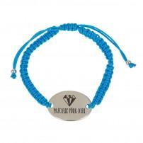 Bracelet tressé turquoise, médaillon métal « Précieux pour Dieu »