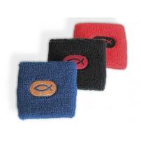 Bracelet anti-transpiration pour le sport noir avec ichtus