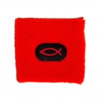Bracelet anti-transpiration pour le sport rouge avec ichtus