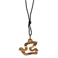 Collier avec pendentif colombe creuse en bois d'olivier