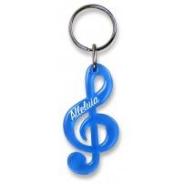 Porte-clé clé de sol bleu translucide « Alleluia »