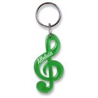Porte-clé clé de sol vert translucide « Alleluia »