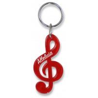 Porte-clé clé de sol rouge translucide « Alleluia »