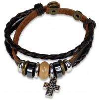 Bracelet cuir avec perles et croix métal
