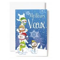 CARTE DOUBLE Meilleurs Vœux 5 Bonhomme de neige