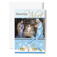CARTE DOUBLE Heureux Noël Jésus, Marie, Joseph, village, flocon