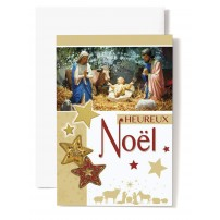 CARTE DOUBLE Heureux Noël Jésus, Marie, Joseph, étoiles jaune et rouge