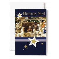 CARTE DOUBLE Heureux Noël Crèche, moutons et villageois