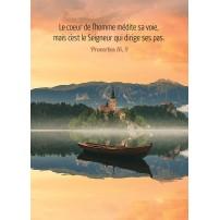 POSTER : Barque flottant sur un lac au crépuscule