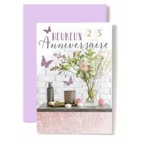 CARNET HA : Fleurs roses dans vase,papillons roses.