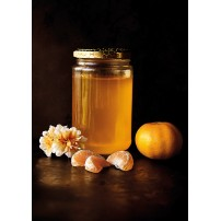 Carte Sans Texte Pot de miel, fleurs et mandarine
