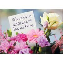 Carte Citation Bouquet de fleurs avec un mot