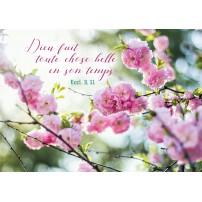 Carte Avec Verset Branche d'arbre avec des fleurs roses