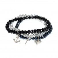Bracelet perles de verre et pendentifs métal