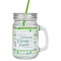 Tasse à boire rustique avec poignée, couvercle en métal et paille verte