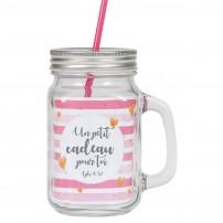 Tasse à boire rustique avec poignée, couvercle en métal et paille rose