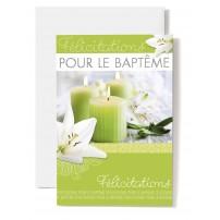 Carte Double Baptême avec Lys blancs, bougie verte
