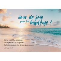 Carte Avec Verset Soleil couchant sur une plage paradisiaque(BAP)