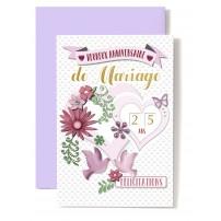 Carte Double Anniversaire De Mariage Papillon, coeur, colombes.