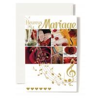 Carte Double Mariage Violoncelle, rose rouge, mains.