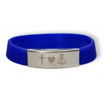 Bracelet silicone et métal - Foi, Amour, Espoir - Bleu
