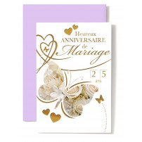 Carte Double Anniversaire De Mariage Papillons sur fond de roses blanches