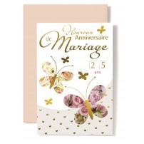Carte Double Anniversaire De Mariage 2 papillons sur fond de roses