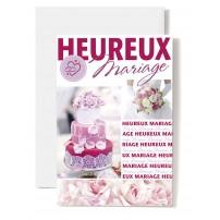 Carte Double Mariage Pièce montée, bouquet rose et blanc, écriture rose.