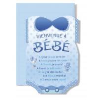 Carte Double Naissance Bodie bleu(A 1 jour je suis....)
