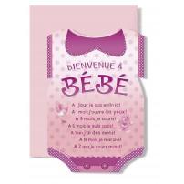 Carte Double Naissance Bodie rose(A 1 jour je suis....)