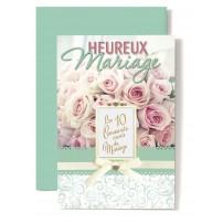 Carte Double Mariage Dix commandements sur bouquet de roses rose