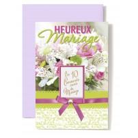 Carte Double Mariage Dix commandements sur bouquet lys et rose