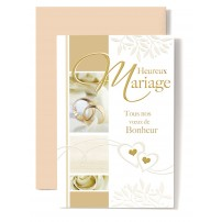 Carte Double Mariage Alliances, rose blanche, 2 petits coeurs or