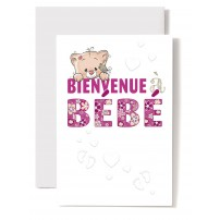 Carte Double Naissance Tête de chaton rose