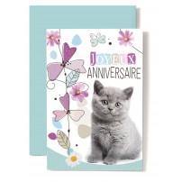 Carte Double Anniversaire Chaton gris