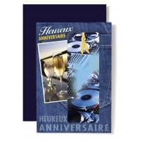 Carte Double Anniversaire Platine, champagne sur jean