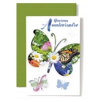 Carte Double Anniversaire Papillon sur fond fleurs, écriture bleue