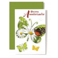 Carte Double Anniversaire Papillon sur fond marguerites, écriture rouge